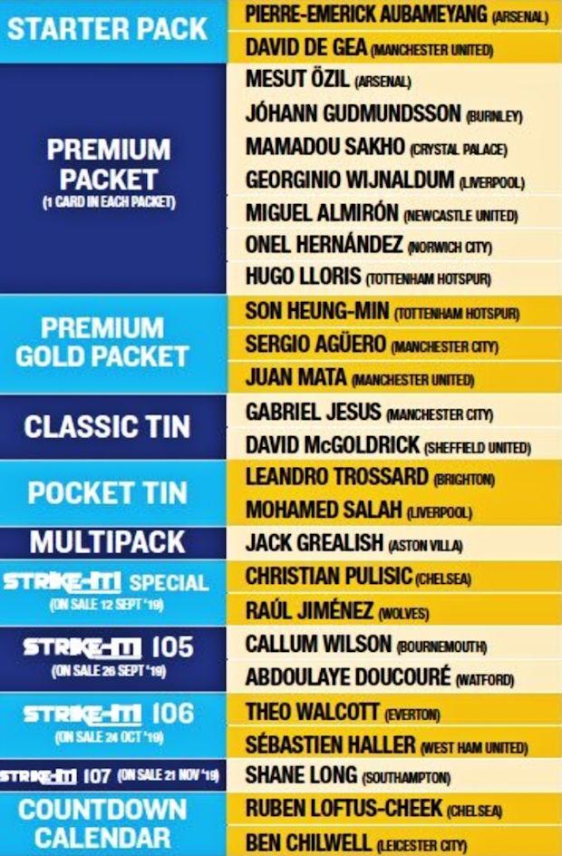 Premier League 2020 Calendario.Football Cartophilic Info Exchange Panini Adrenalyn Xl