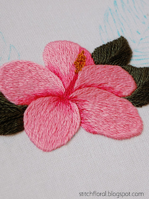 hibiscus long and short stitching