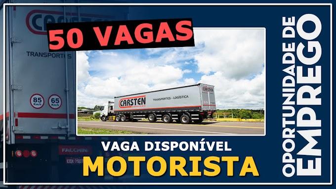 Carsten Serviços abre 50 vagas para Motorista Carreteiro