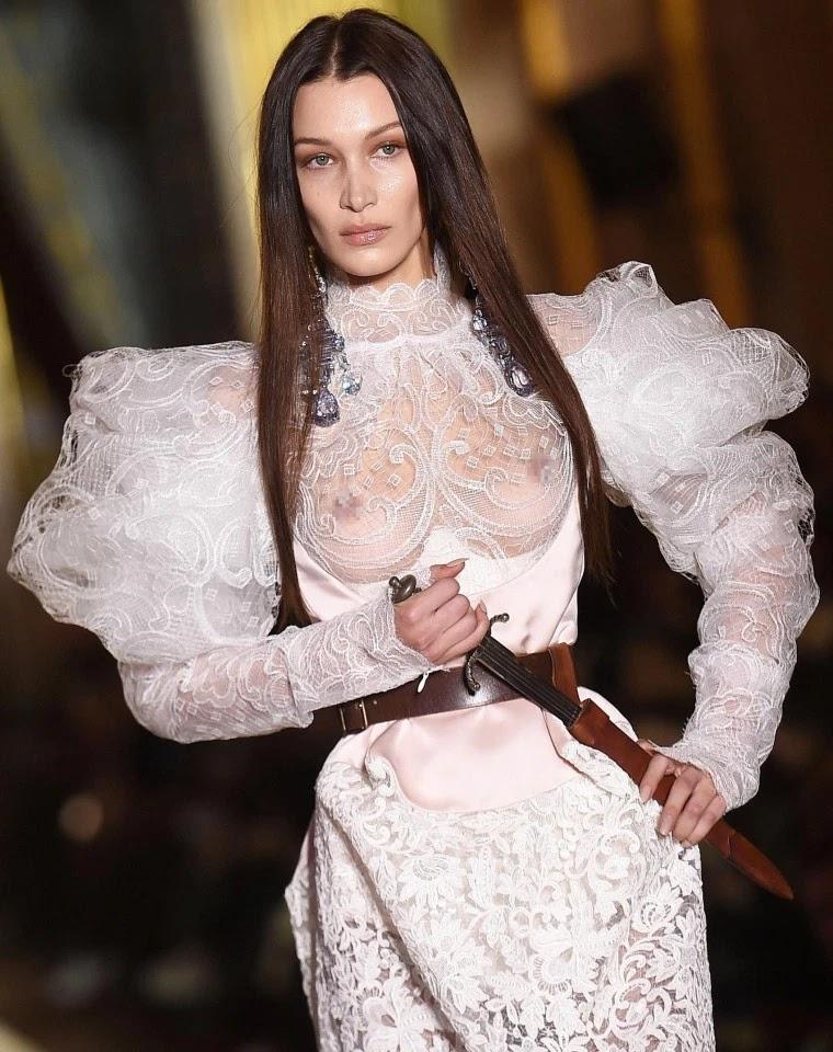 Bella Hadid walked the Vivienne Westwood catwalk at Paris Fashion Week