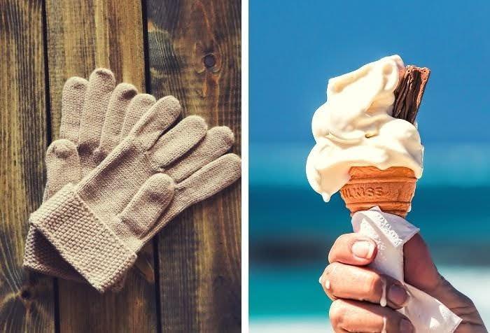 冬の手袋とアイスクリームの2画像