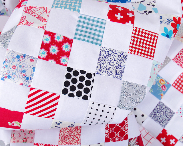 Red White and Blue Postage Stamp Quilt - tutorial available | Red Pepper Quilts 2016