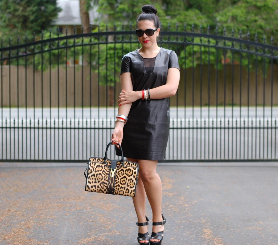 Diane Von Furstenberg Leather Dress Leopard Saint Lau Cabas Chyc Tote And Burberry Prorsum Heels