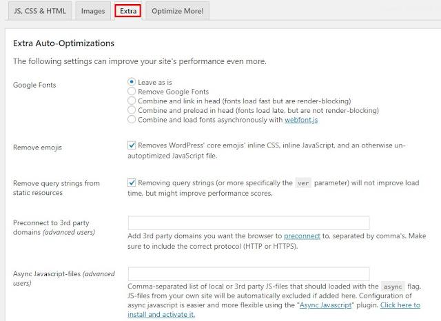 Autoptimize settings extra tab