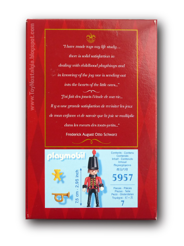 Playmobil 5957. Soldado F.A.O. Schwarz 150 aniversario (2012)  reverso caja