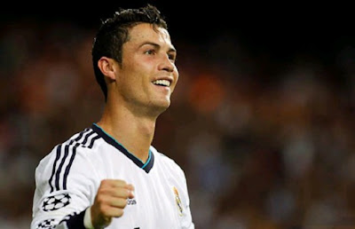 Cristiano Ronaldo happy after scoring a goal with Real Madrid jersey