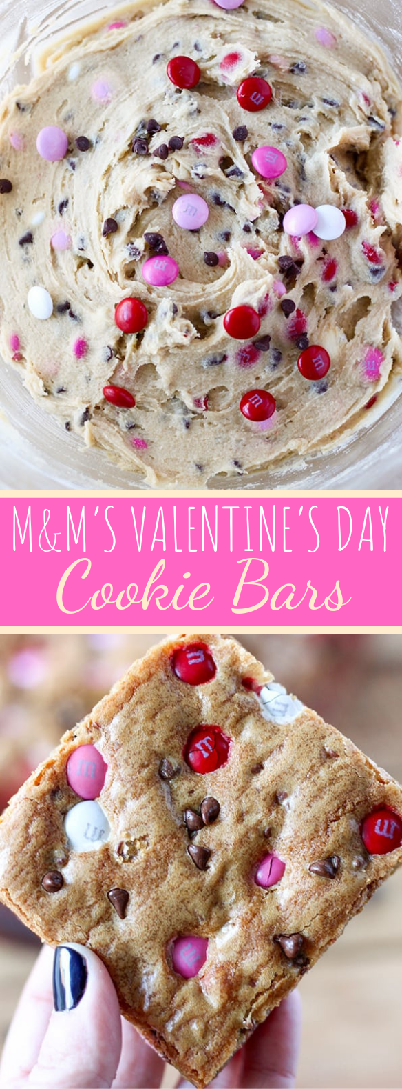 M&M'S VALENTINE'S DAY COOKIE BARS #desserts #favoriterecipe