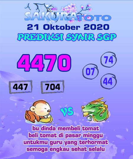 Prediksi Sakuratoto SGP Rabu 21 Oktober 2020