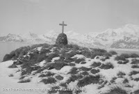 A cross on top of Shackleton's tomb in South George Island.