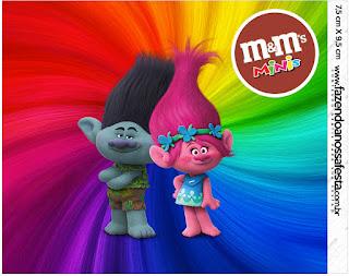 Etiqueta M&M de Trolls para imprimir gratis.