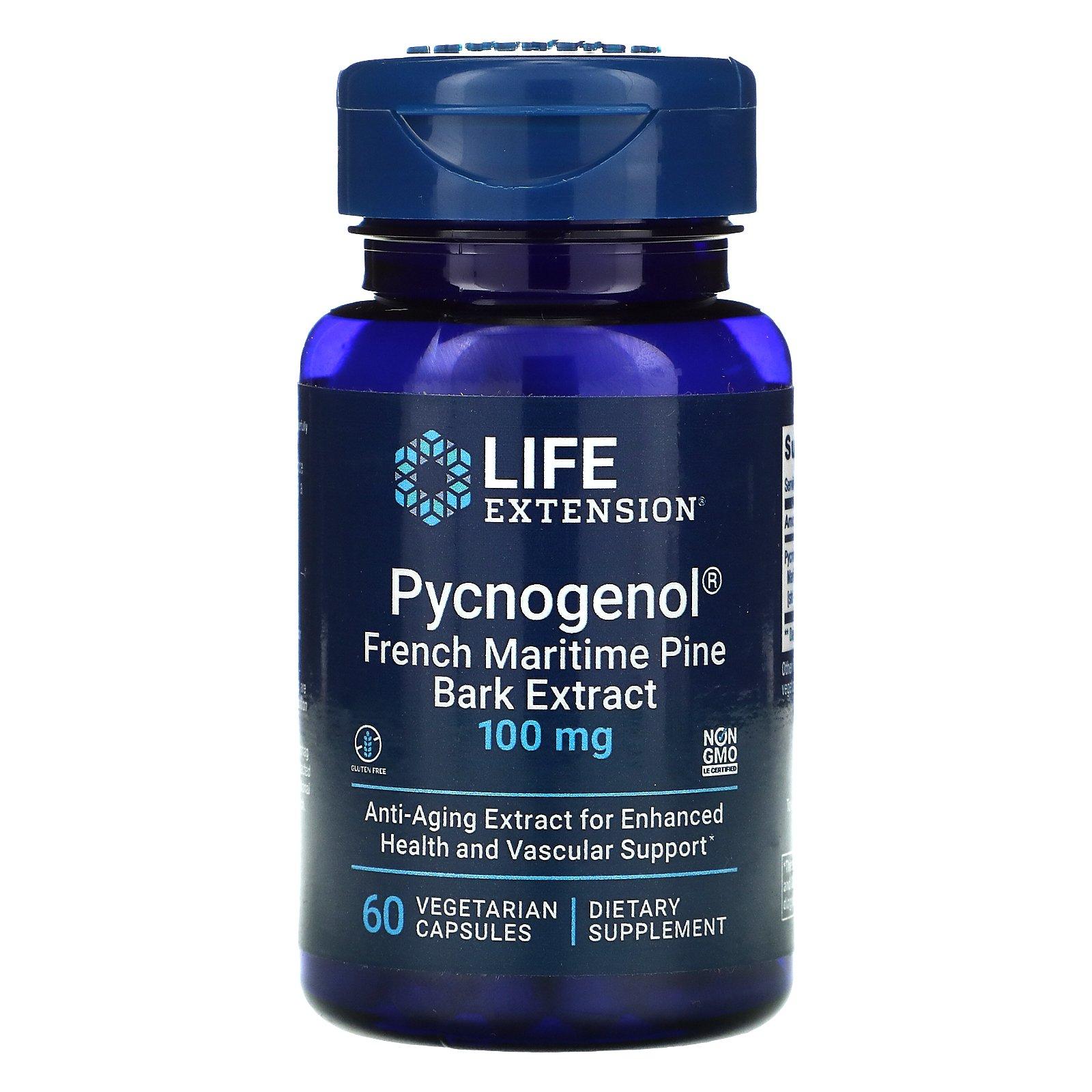 Life Extension, Pycnogenol, экстракт коры французской приморской сосны, 100 мг, 60 вегетарианских капсул