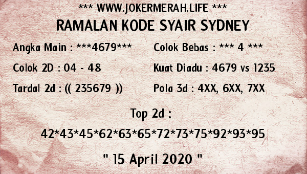 Prediksi Togel Sydney Rabu 15 April 2020 - Joker Merah