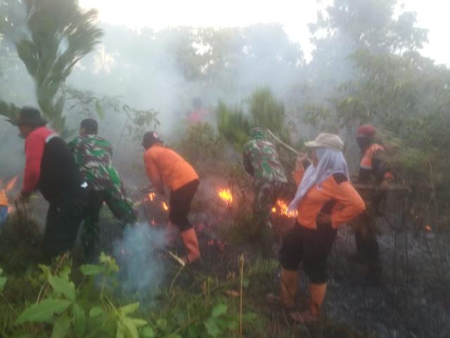 TNI Bantu Padamkan Kebakaran Lahan PPU