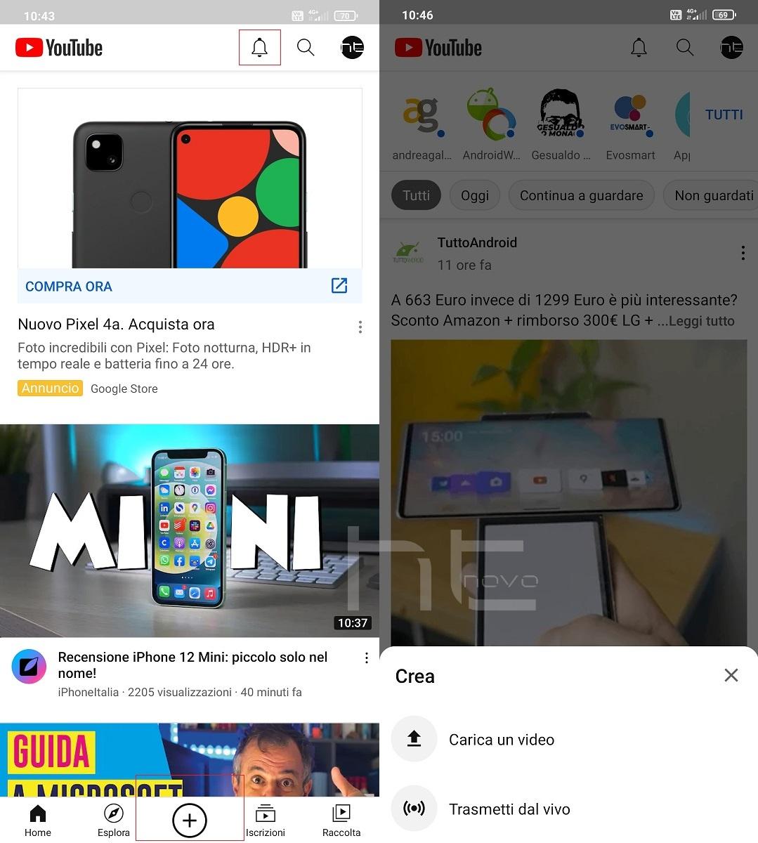 Adesso YouTube ti invita con decisione a creare e caricare i tuoi video