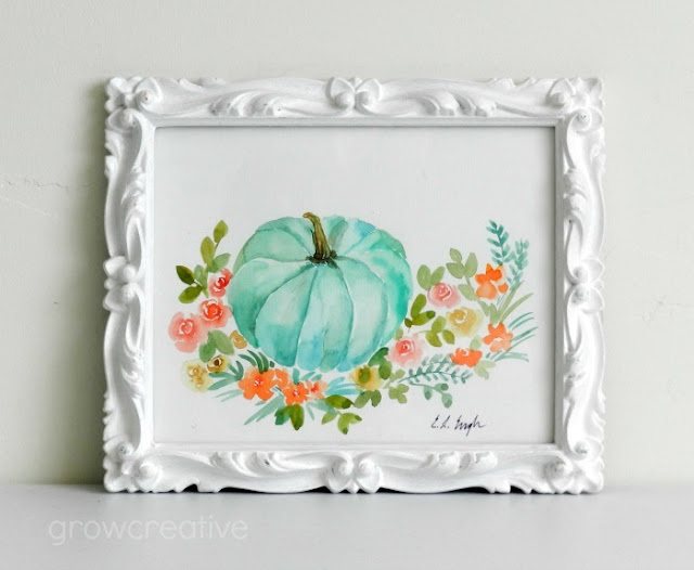 Watercolor Mint Pumpkin with Flowers: Elise Engh