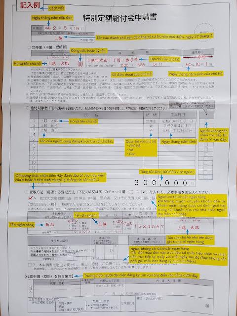 Cách điền Đơn đăng ký nhận 10 man hỗ trợ của chính phủ Nhật Bản 【10万特別定額給付金申請書書き方】