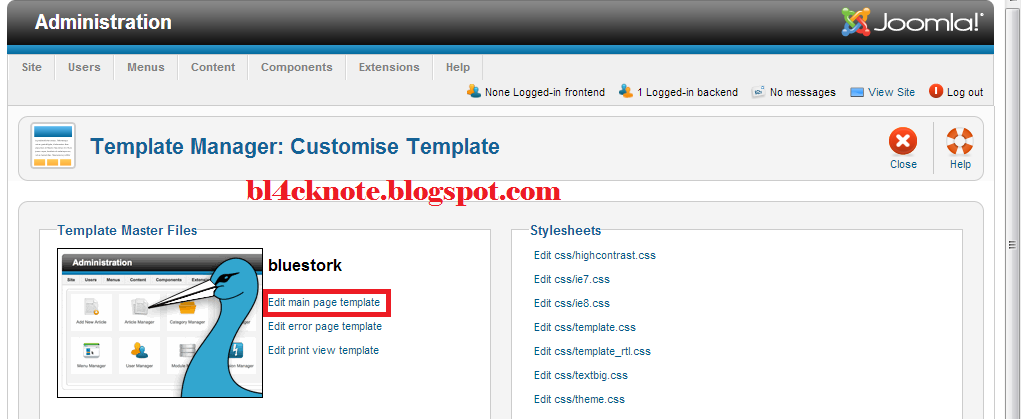 Cara menanam shell backdoor pada website joomla bl4ck for Joomla administrator templates