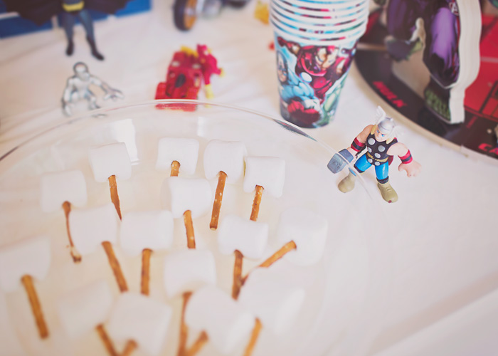 Marshmallow and Pretzel Thor Hammer Party Treats