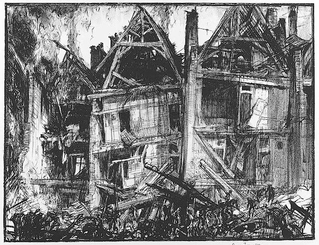 a 1919 Frank Brangwyn drawing of a burned out building