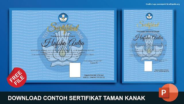 Download Contoh Sertifikat TK Coreldraw, Photoshop Dan Word