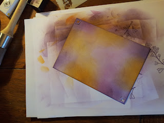 Purple and yellow inked background section