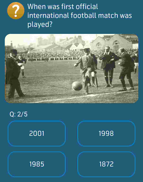 When was first official international football match was played?