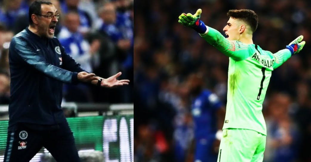 Chelsea-City: il portiere Kepa rifiuta il cambio prima dei calci di rigore, Sarri diventa una bestia.