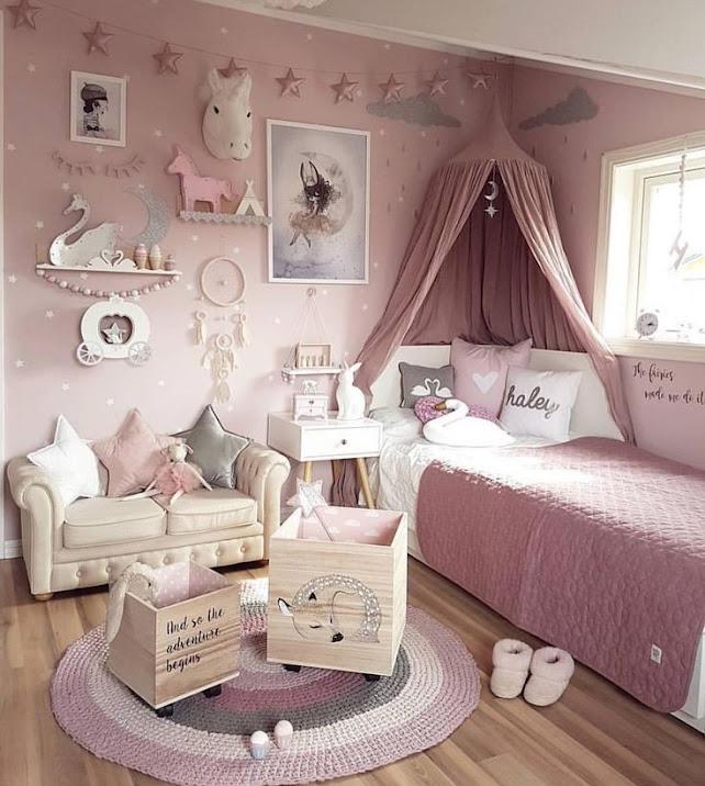 Desain Kamar Tidur Anak Perempuan Warna Pink Terbaru
