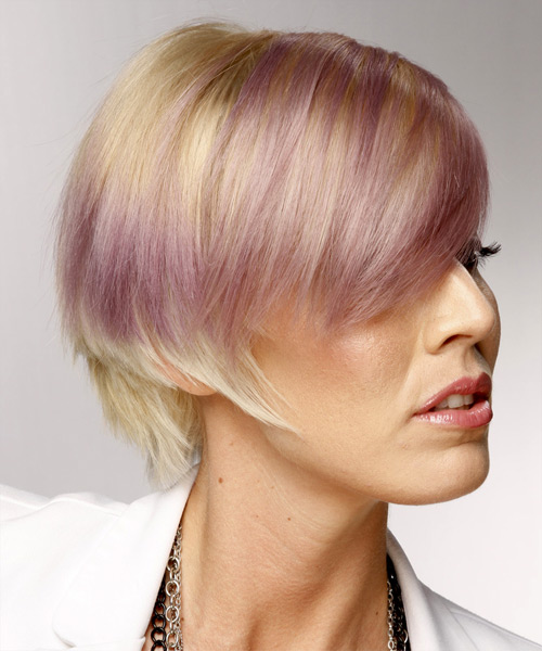 Two Tone Short Side Swept Hairstyle
