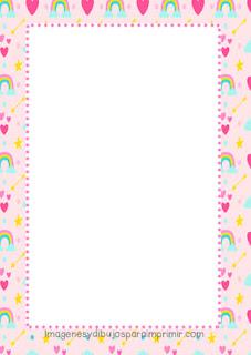 Folio para imprimir con arco iris rosa