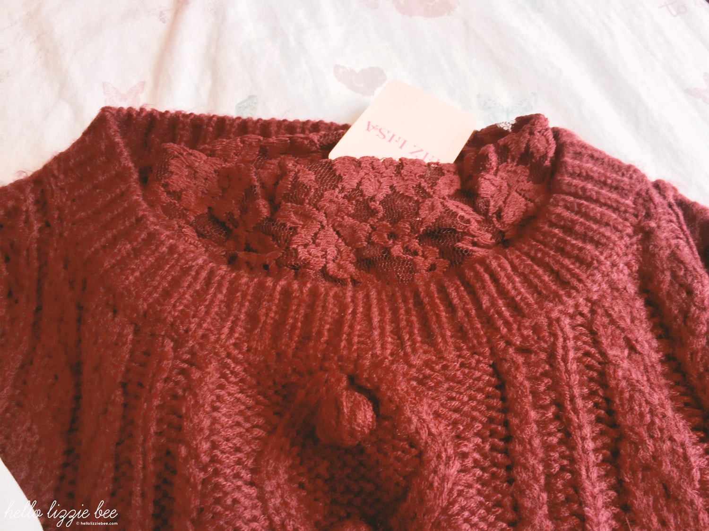 liz lisa red knit