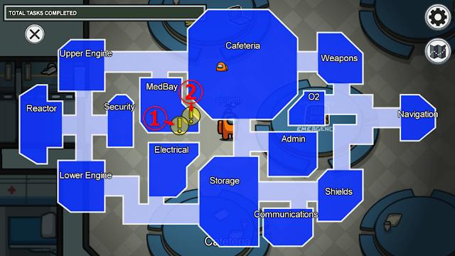 MedBay(医務室)のタスクマップ説明画像