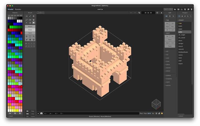 Sample Voxel castle in MagicaVoxel