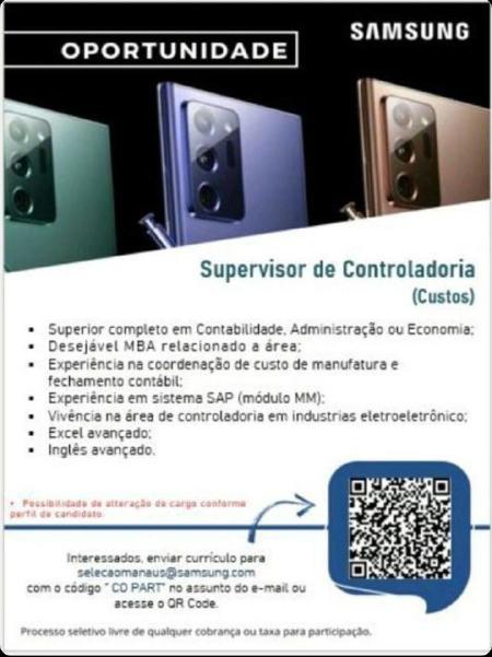 SUPERVISOR DE CONTROLADORIA - SAMSUNG