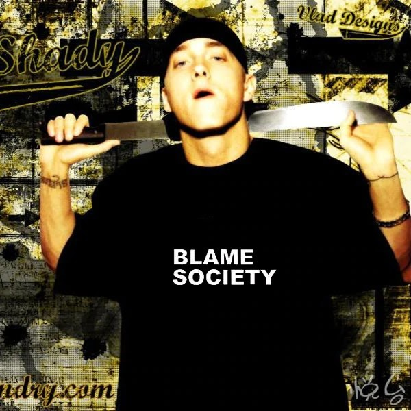 'Blame Society' T-shirt worn by Eminem.