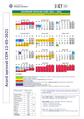 CALENDARI CURS 2021/2022