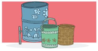 Drum bekas, ember bekas, karung plastik, keranjang anyam, sudah berubah menjadi tempat sampah yang cantik www.simplenews.me