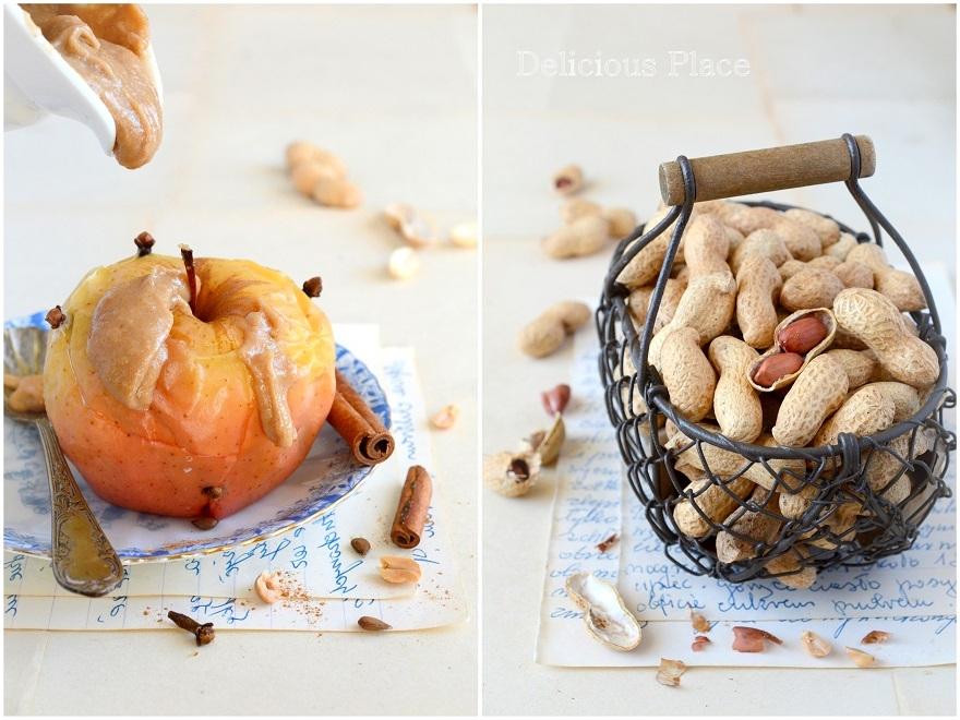 Pieczone jabłka z sosem orzechowym