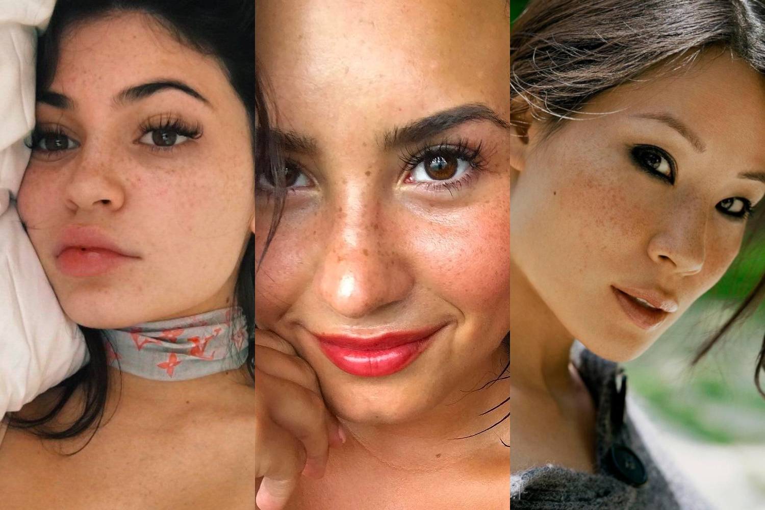 kylie jenner demi lovato and luci lie freckled skin