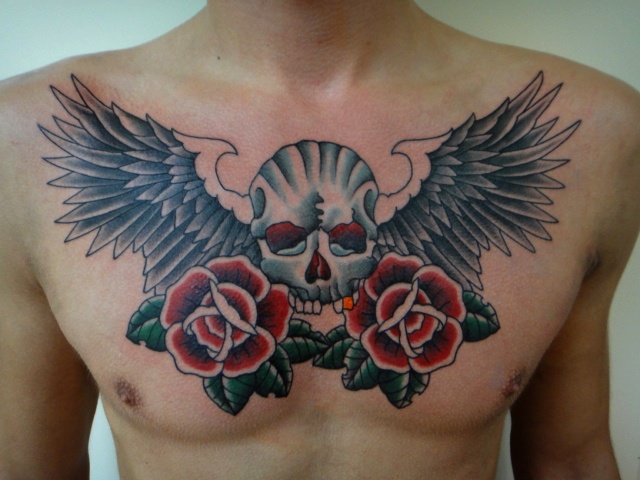 e5af1ee55f7a2 Tattoos by Dave Vartan: skull roses and wings chest piece