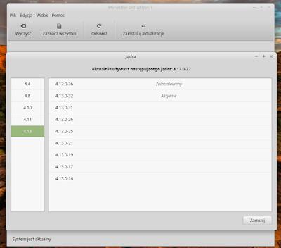 Linux Mint Menedżer aktualizacji - instalacja kernela