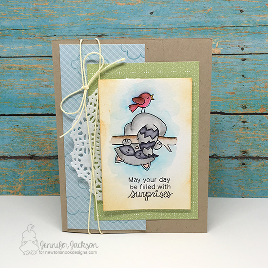 Day filled with Surprises Raccoon Card by Jennifer Jackson | Raccoon Rascals Stamp Set by Newton's Nook  Designs #newtonsnook #handmade