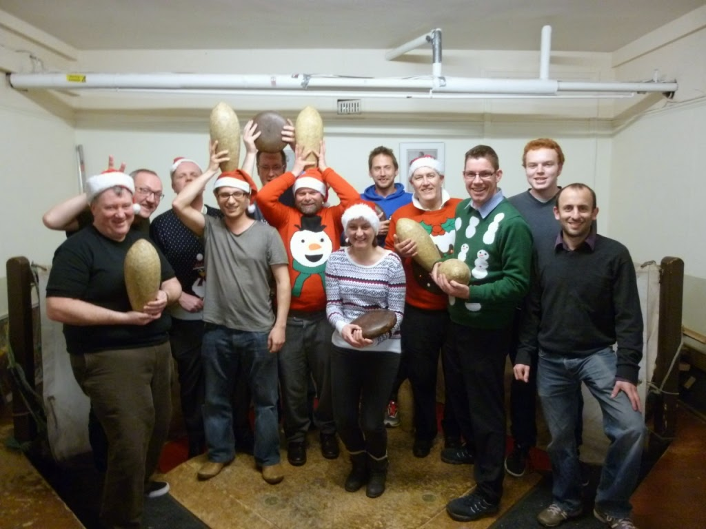 The players after the London Skittles competition at the Hampstead Lawn Billiard and Skittle Club