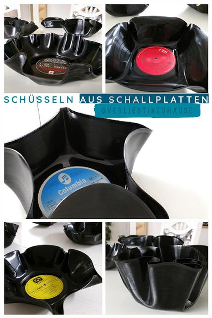 Schale aus Schallplatte: DIY Anleitung und Geschenk-Idee zum selbermachen (upcycling vinyl record)