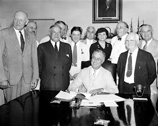 File Photo. (1935). Franklin Roosevelt Signing the Social Security Act [Photo] Kerrey (Soc. Sec. Ad.) 06:22. CQ Roll Call. Washington DC. Retrieved from https://cqrollcall.photoshelter.com/image/I0000R495QFWb0mY