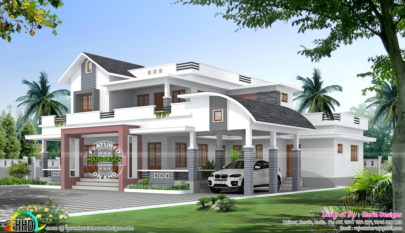 Marvelous 4 Bedroom Mixed Roof Home Part - 8: Attached Bedrooms : 4. Design Style : Modern Mix Roof. Facility Details.  Read More » Please Follow Kerala Home Design