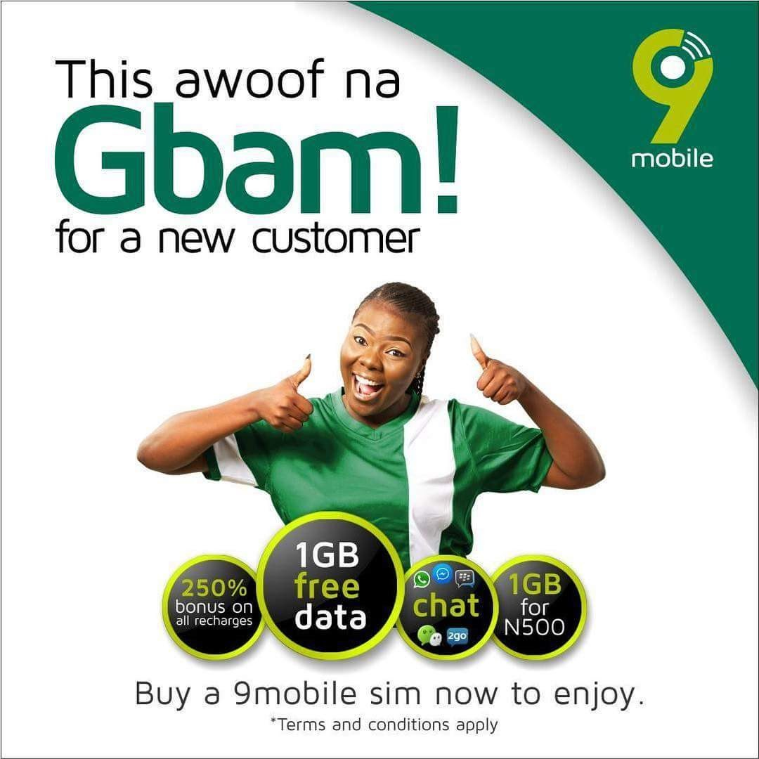 9Mobile is giving out free 1GB of data when you do this