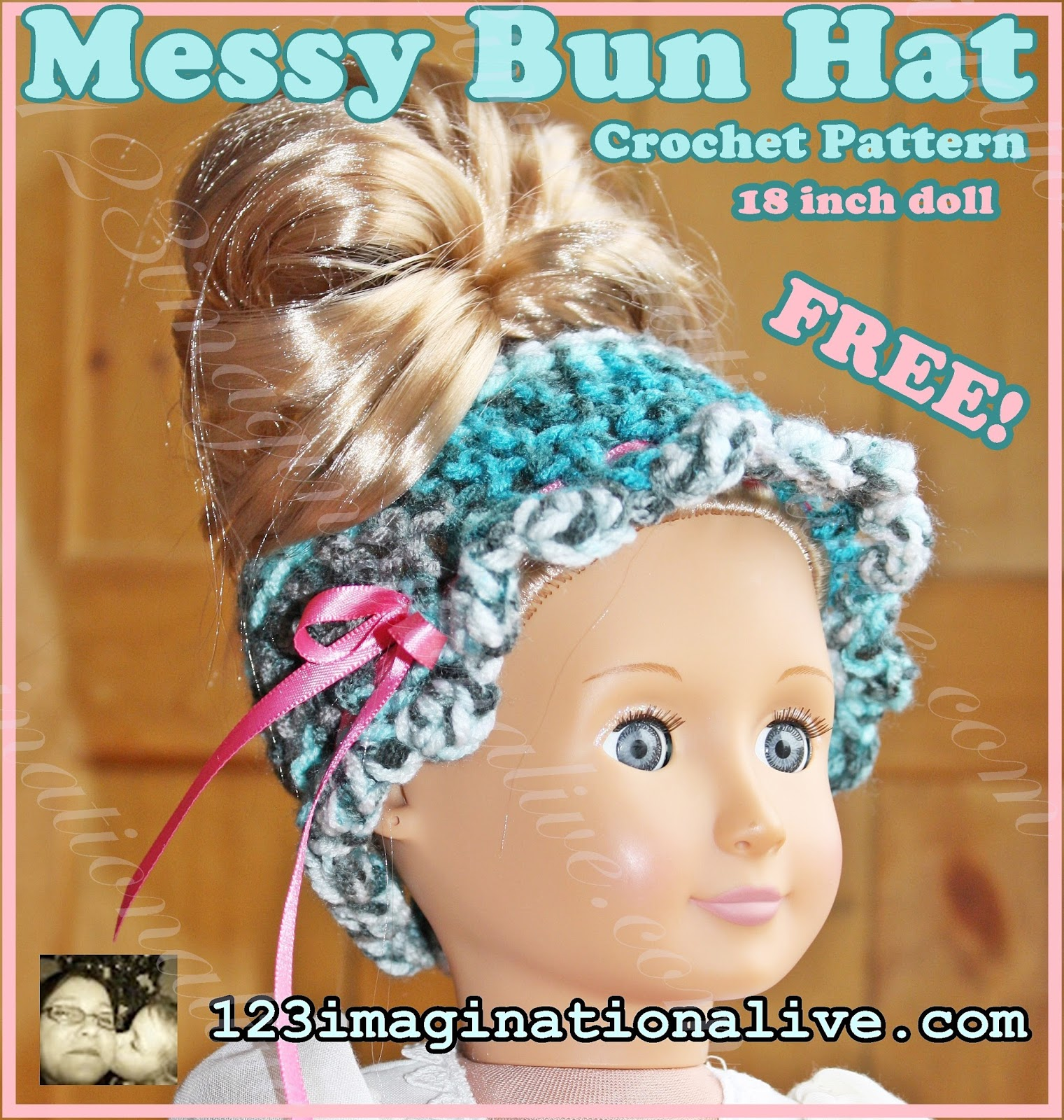 123imaginationalive: Messy Bun Crochet Hat Pattern will fit American ...