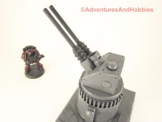 Miniature wargame remote air defense gun turret - top view.