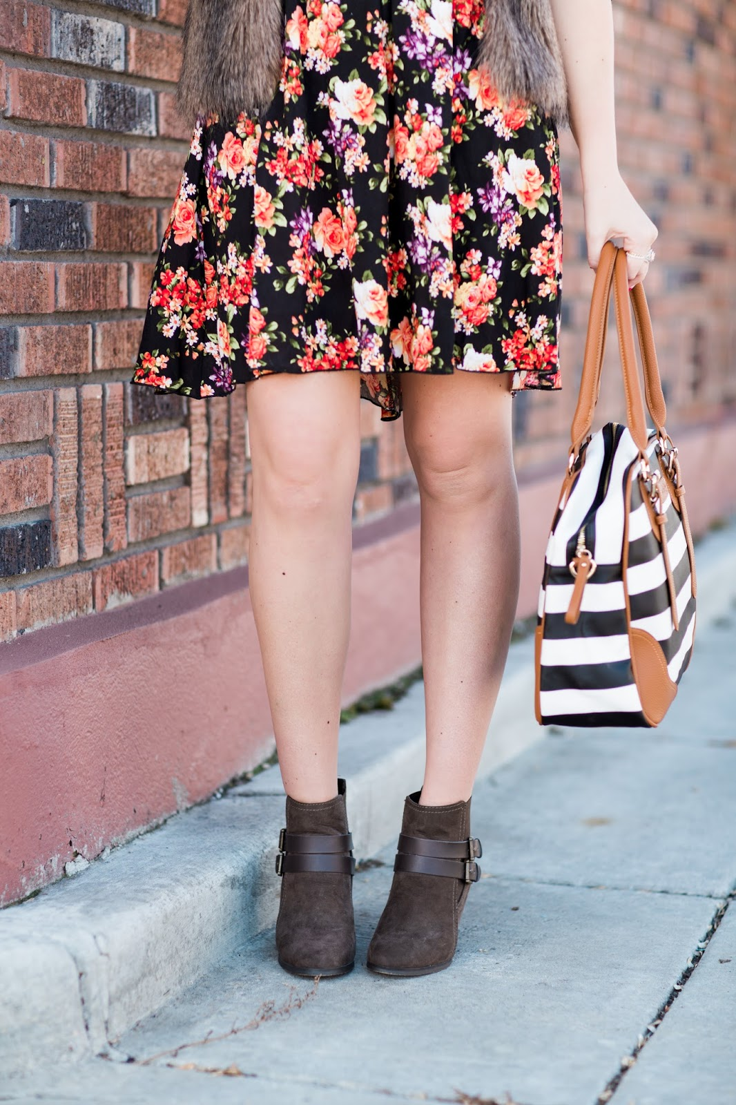 Floral Skirt, Striped Diaper Bag